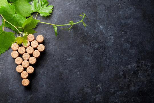 Wine corks grape shape and vine