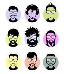 Set monochrome avatars profile flat icons, different characters. Trendy beards, glasses.
