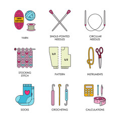 Knitting. Modern vector line icons set of knitting and crochet. Knitting elements: yarn, knitting needle, knitting hook, pin and others. Outline knitting symbol collection invitations, notes, messages
