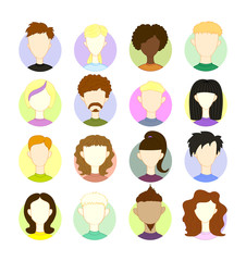 Set 16 freehand drawing vector images of people's heads. International different people characters, avatars profile pictures, vector illustration