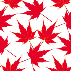 Red maple leaves. Seamless pattern. Japanese symbolism. illustration