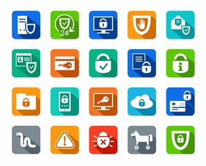 Protection of information, icons, colored, flat. Information technology, data security system. Vector white icons on a colored background with a shadow.