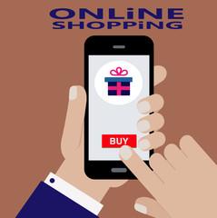 онлайн заказ подарка по интернету,смарфон в руке