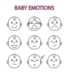 Newborn babies, monochrome set of kids emotions, children's faces, flat vector illustration