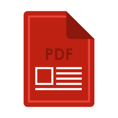 File PDF icon in flat style isolated on white background. Document type symbol vector illustration