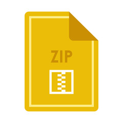 File ZIP icon in flat style isolated on white background. Document type symbol vector illustration