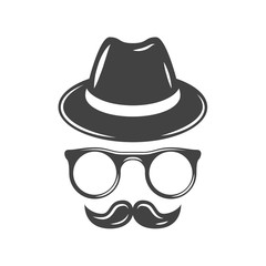 Hipster retro hat, eyeglasses and moustache. Black icon, logo element, flat vector illustration isolated on white background.