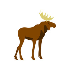 Moose icon in flat style isolated on white background. Animal symbol vector illustration