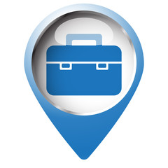 Map pin symbol with Briefcase icon. Blue symbol on white backgro