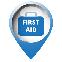 Map pin symbol with First Aid Kit icon. Blue symbol on white bac