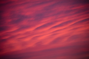 Clouds. Pink wave, heavenly ocean