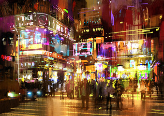 colorful painting of night street,illustration,cityscape Wall mural