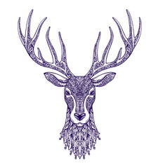 Deer head isolated on white background. Hand drawn vector illustration with floral elements