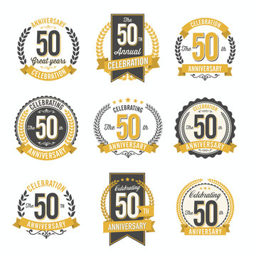 Set of Vintage Anniversary Badges 50th Year Celebration