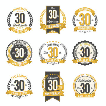 Set of Vintage Anniversary Badges 30th Year Celebration