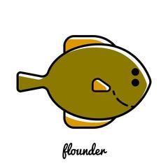 Line art flounder icon.