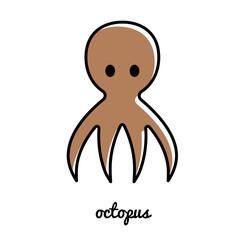Line art octopus icon.