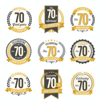 Set of Retro Anniversary Badges 70th Year Celebration