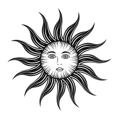 sun face mystical astrology mythologic vector illustration