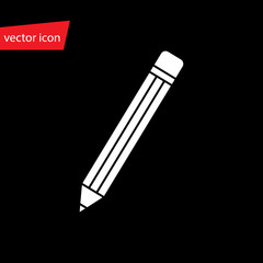 Vector pencil icon in flat style