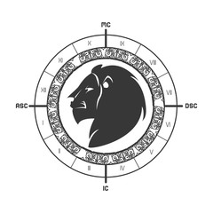 signs of the zodiac lion circle astrological astronomy future vector illustration