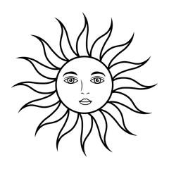 sun face mystical astrology mythologic vector illustration