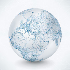 Abstract Telecommunication Earth Map - Europe, Mid-East, Asia, Africa