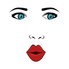 girl woman face mouth lips blue eyes wink pop art vector illustration