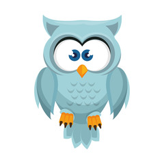 owl bird  cartoon animal nature cute wisdom vector illustration