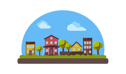 Country landscape in flat style. Vector illustration