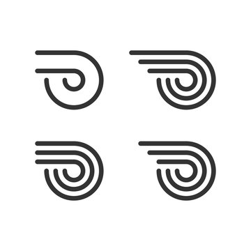 Logo Template Set. Wheel With Fire Or Wings. Line Style Logotype