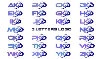 3 letters modern generic swoosh logo AKD, BKD, CKD, DKD, EKD, FKD, GKD, HKD, IKD, JKD, KKD, LKD, MKD, NKD, OKD, PKD, QKD, RKD, SKD, TKD, UKD, VKD, WKD, XKD, YKD, ZKD