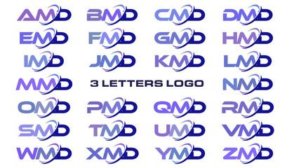 3 letters modern generic swoosh logo AMD, BMD, CMD, DMD, EMD, FMD, GMD, HMD, IMD, JMD, KMD, LMD, MMD, NMD, OMD, PMD, QMD, RMD, SMD, TMD, UMD, VMD, WMD, XMD, YMD, ZMD