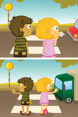 Boy and girl crossing road