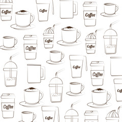 coffee background cups mugs silhouette   drink cafe sketch vector illustration