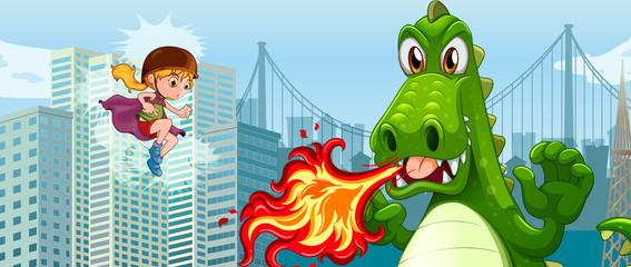 Superhero fighting green dragon in city