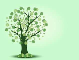 Decorative green tree silhouette with background