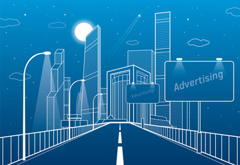 Highway. Road lighting lanterns. Business center, architecture and urban illustration, neon city, white lines composition, skyscrapers and towers, vector design art