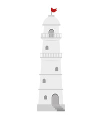 white lighthouse tower with red flag. navigation symbol.vector illustration