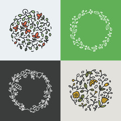 Vector collection of wreath made with branches, leaves and flowers in trendy linear style - abstract frames.