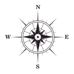 retro nautical compass symbol. geography navigation object. vector illustration