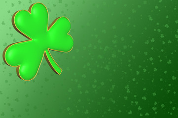 A clover on a background of green filed with small clovers