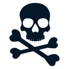skull with bones. danger and warning symbol. vector illustration