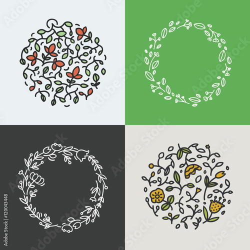 Vector Collection Of Wreath Made With Branches Leaves And Flowers