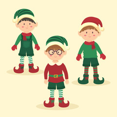 Christmas Elves Boy Character Set Cartoon Vector