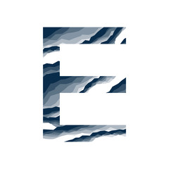 The letter E, in the alphabet abstract background marble, bark, mountain, stone layer  set dark blue shade color isolated on white background