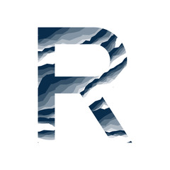 The letter R, in the alphabet abstract background marble, bark, mountain, stone layer  set dark blue shade color isolated on white background
