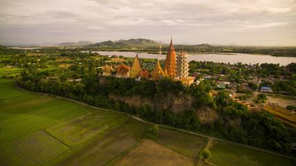 aerial view of wat thum sua kanchanaburi thailand important budd