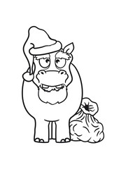 old father christmas santa claus hat sack winter gifts nicholas comic cartoon sweet little cute child happy hippo