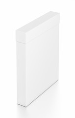 White thin vertical rectangle blank box with cover from top far side angle.